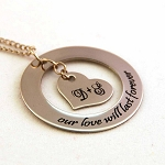 Forever Heart Personalized Stainless Steel Necklace with Initials