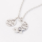 Moon and Back Personalized Necklace with Floating Star