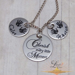 Personalized Mothers Necklace Cherish Moments with TWO Name Circles