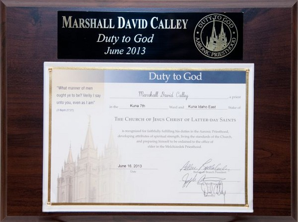 Duty to God - Recognition Plaque