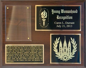 Young Woman Recognition Plaque